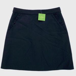 Kate Spade Black Ruffle Crepe A-Line Skirt 8